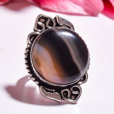 "Gray Botswana Agate  Handmade Jewelry Ring ""9"""