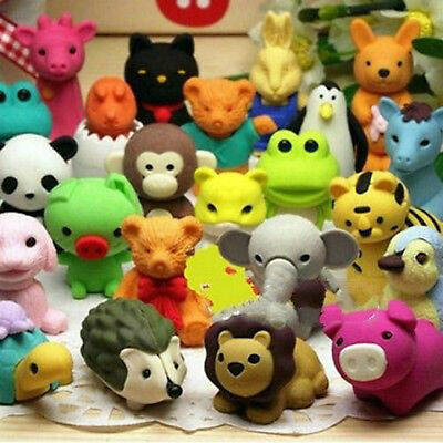 20 X Novelty Animal Erasers Cute Sealife Rubbers Student Gift Toy Party Bag Kid