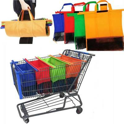 Set of 4 Reusable Shopping Bags Eco Grocery Cart Trolley Bag Totes Supermarket