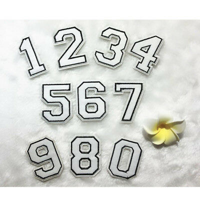 0~9 White Numbers Embroidered Patch Sew Iron On Uniform Badge Shirt Applique DIY