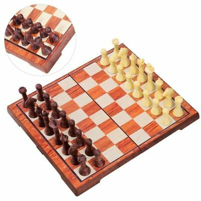2 in 1 Large Chess Wooden Set Folding Chessboard Magnetic Pieces Wood Board Gift