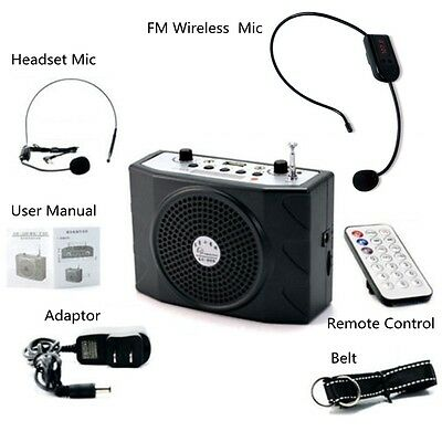 25W Voice Booster Amplifier Speaker+Remote+FM Wireless Mic For Meeting Teaching