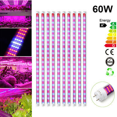 5PCS/Set 60W LED Grow Light 1.2M Full Spectrum T8 Light Tube For Hydroponics Veg