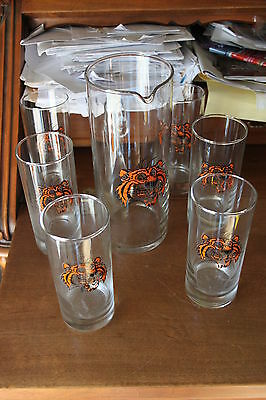 Caraffa e 6 bicchieri Tigre ESSO Vintage anni '70 collection rare glass promotio