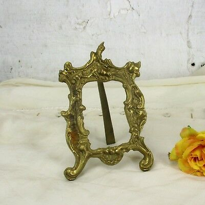 Vintage French Standing  Brass Embossed Oval  picture frame Ornate Rococo