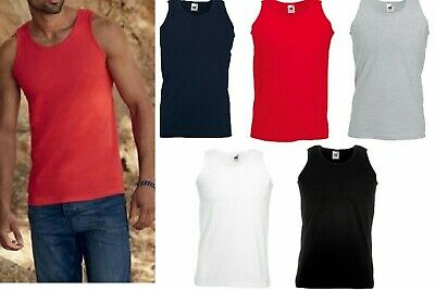 3 Or 5 Pack Fruit of the Loom Mens Sleeveless Vest Plain Sports Gym Tank Top