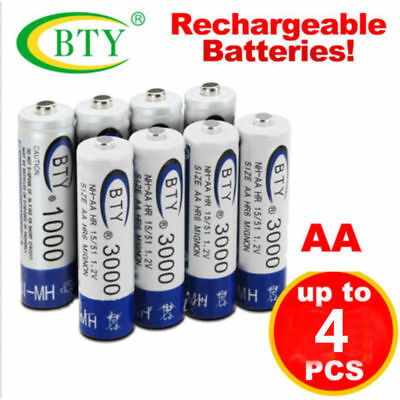 4-20pcs BTY AA Rechargeable Battery Recharge Batteries Ni-MH 1.2V 3000mAh HK