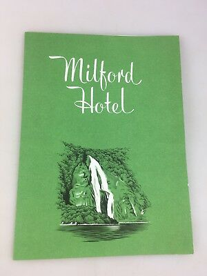 Vintage Menu - The Milford Hotel - 1962 - Great Item But Not Sure Where It Is