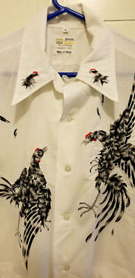Rare Vintage 50's Heavy Embroidered COCK FIGHTING WHITE Shirt L