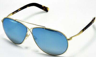 52a0b5fd618 TOM FORD EVA Unisex Aviator Sunglasses Shiny Rose Gold Blue Mirror ...