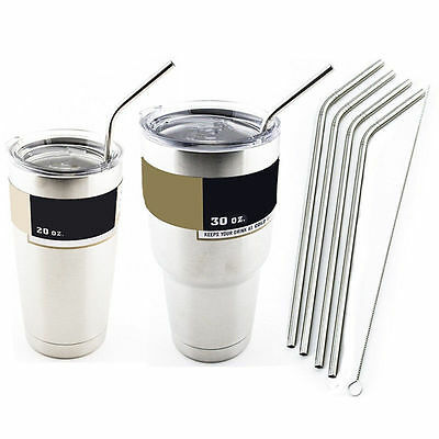4Pcs Stainless Steel Metal Drinking Straw Reusable Straws +1 Brush Cleaner Home