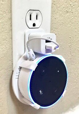 Dual USB Port PLUG-IN Wall Mount for Amazon Echo Dot 2nd Gen (White)