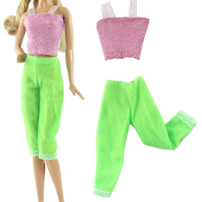 2Pcs/Set Handmade Doll Pant Clothes for Barbie Doll Party Daily Clothing new.