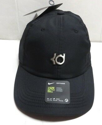 37218fc105f NIKE Kevin Durant KD Heritage 86 Strapback Hat Cap Black Silver Nwts One  Size