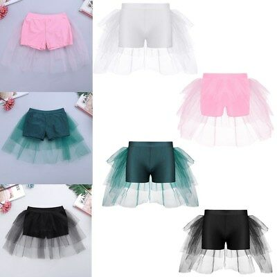 Girls Ruffled Mesh Dance Shorts Ballet Gymnastic Stretch Pants Stage Costumes