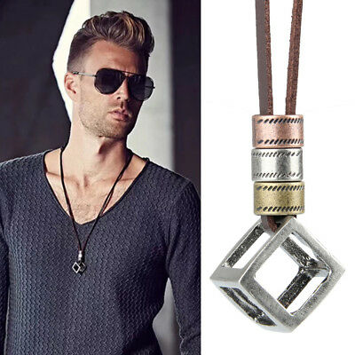Cool Men's Women's Retro Leather Rope Hollow Cube Luxury Pendant Choker Necklace