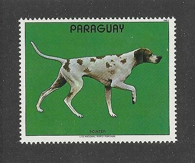 Dog Art Body Study Portrait Postage Stamp ENGLISH POINTER Paraguay 1983 MNH