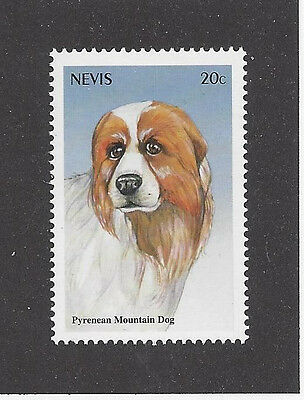 Art Head Portrait Postage Stamp GREAT PYRENEES PYRENEAN MOUNTAIN DOG Nevis MNH