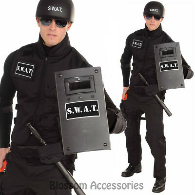A720 SWAT Team Black Plastic Shield Armor Police Officer Adult Costume Accessory