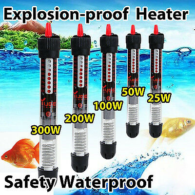 Aquarium Fish Tank Submersible Water Heater Heating Rod 25 50 100 200 300W Safe