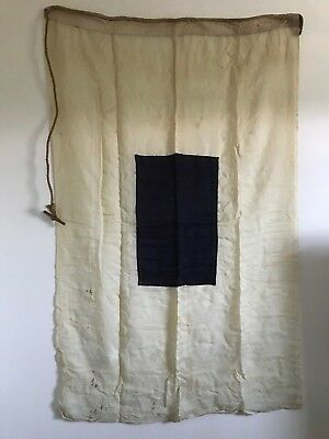 VINTAGE LINEN TAN & BLUE  36 x 57 FLAG MARKED 'S'  SEWN NAUTICAL ROPE HANDLE