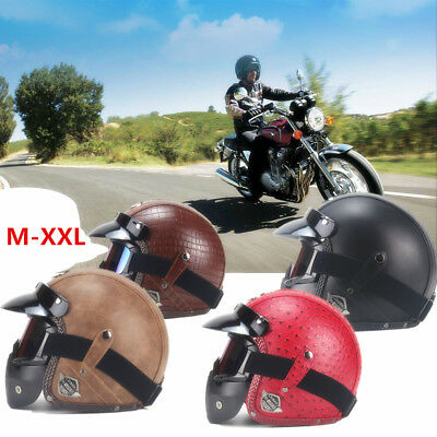 Leather Retro Vintage Open Face Motorcycle Motorbike Scooter Helmet With Mask