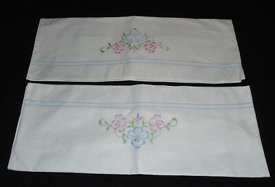 Superb Pair Vintage Embroidered White Pillow Cases 1950s ? 1960s ? 28 x 19 Inch