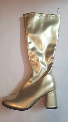 60s 70s Gold Go Go Boots for Disco Glamour Hippy Superhero costume shoe size 9