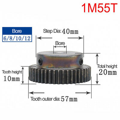 1Mod 55T Spur Gear 45# Steel Motor Pinion Gear Outer Dia 57mm Bore 6mm x 1Pcs