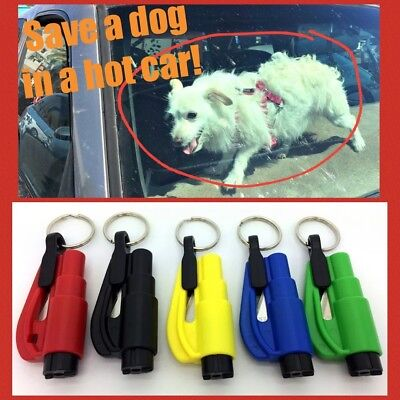 Emergency Dog Car Window Glass Breaker Hammer Keyring Belt Cutter Safety Escape