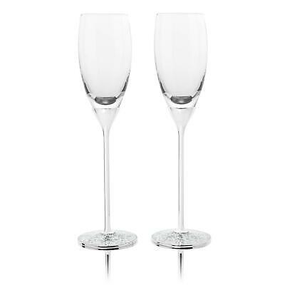 Personalised Pair of Champagne/Wine Flutes With Silver Heart Stems - Engraved