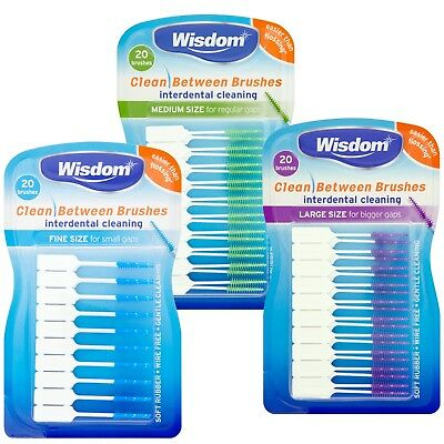 Wisdom Clean Between Interdental Brushes - Pack of 3 (Blue, Green & Purple)