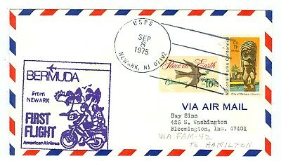 FIRST FLIGHT COVER 1975 Aamc F26-90 Newark, N j  To Bermuda, American  Airlines