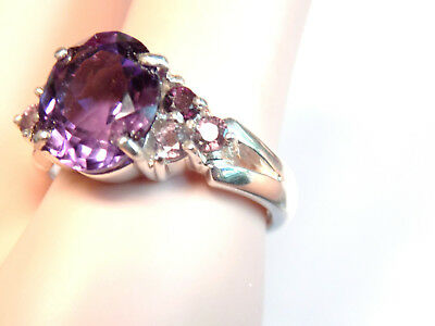 NATURAL 4ct purple amethyst + sapphire 925 sterling silver ring size 8.5 USA