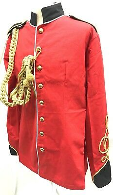 SDL Red With White Piping And Brass Buttons MilitaryJacket & Aiguillette Size 44