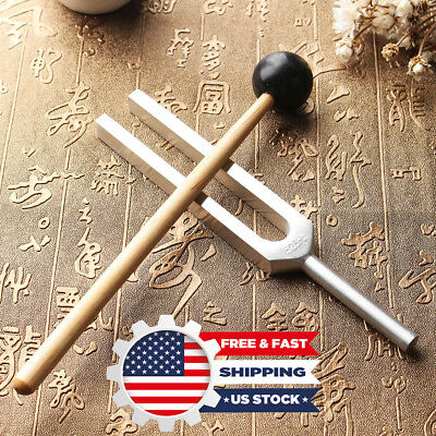 528Hz Medical Tuning Fork DNA Chakra Hammer Ball Diagnostic Healing + Mallet  US