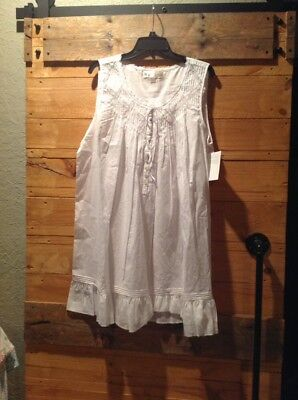 5504236766 NWT Eileen West Nightgown Lace Cu Out 100% Lawn Cotton White Size Large