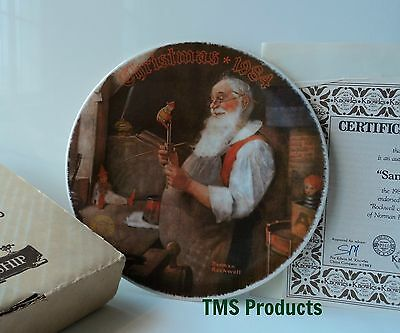 Norman Rockwell Santa in His Workshop Christmas Plate First Edition MIB 1984