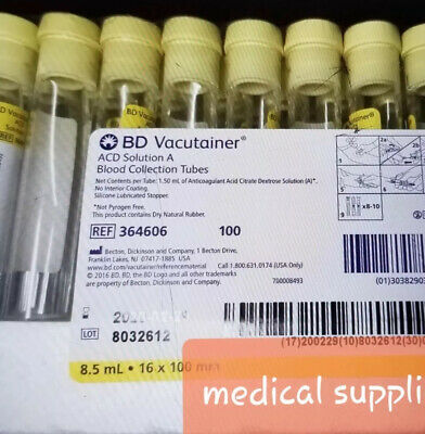 50x Bd Vacutainer ACD Solution A Blood Tubes 10/19 PRP/PRF, ship Same Day