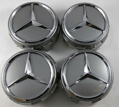 Mercedes Wheel Hub Amg Alloy Centre Caps - Grey 75Mm A B C E S Ml Class