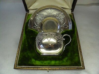 Cased French 950 Solid Silver c1900 Coffee Cup & Saucer