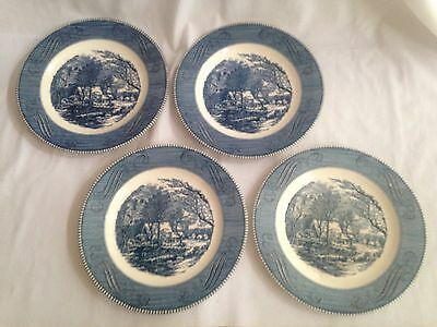 4 Currier and Ives - The Old Grist Mill Dinner Plates Royal China