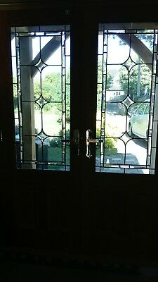Traditional Fluted Bevel Leaded Glass Window Door Panel 1145 x 490 mm Craft 9No
