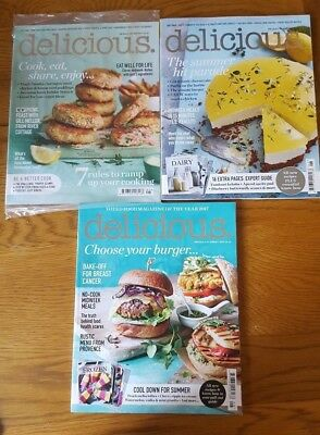 3 x Delicious magazines May, June & August 2017