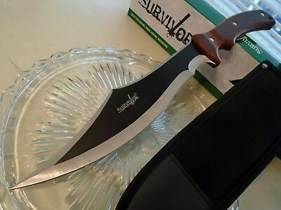 Survivor 2 Tone Recurve Hunter Bowie Combat Knife Full Tang Pakkwood FIX003BR