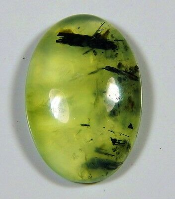22 Ct  Natural Green Apple Rutilated Prehnite Oval Cabochon Africa Gemstone D366