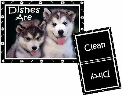 DOG DISHWASHER MAGNET (Siberian Husky) - Clean/Dirty *Ship FREE