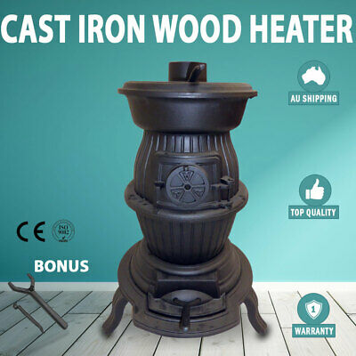 Cast Iron Wood Heater Pot Belly Heater Slow Combustion 6KW Heat To 12 Square