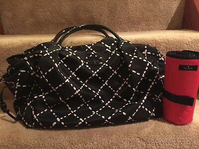 Kate Spade Stevie Diaper Bag Black White Polka Dot Tote Purse. See Description