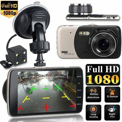 Dual Lens 4'' HD 1080P Vehicle Auto Dashcam Video Kamera Recorder Camera DVR DHL